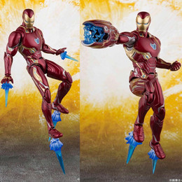 Bones Figures Australia - New The Avengers 4 Endgame SHF Ironman MK50 SHF Infinite war Steel bone The Flash model movable boxed Toy Action Figure Model C32