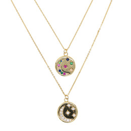 round pendant necklace engraved UK - round disco coin necklace gold plated engraved white rainbow cz moon star shooting star design fashion necklaces