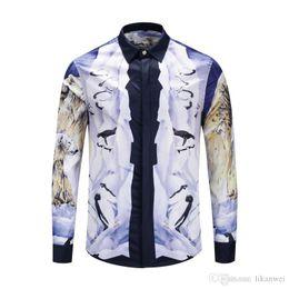 $enCountryForm.capitalKeyWord Australia - Autumn and winter designer Medusa Men fashion Polar bear and penguin pattern shirt Slim Fit cotton shirts for men print casual Long sleeved