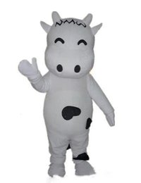 Dairy cow costume online shopping - 2019 high quality a lovely white dairy cow mascot costume with small eyes for adult to wear