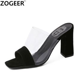 $enCountryForm.capitalKeyWord NZ - Summer Leisure Thick High Heel Slippers Women Fashion Transparent Sandals Sexy Black White Slides Causal Flip flops Shoes Woman