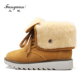 $enCountryForm.capitalKeyWord NZ - fanyuan Warm Fur Women Snow Boots Flat Platform Winter Shoes Flock Ankle Boots Female Fashion lace up Basic Snow Casual Shoes