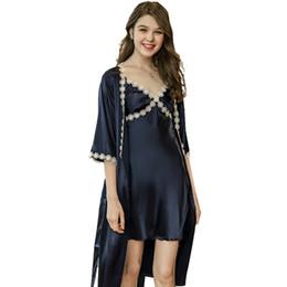 $enCountryForm.capitalKeyWord UK - Women Robe Gown Sets Satin Embroidery Flowers Deep V-neck Solid Bathrobe Home Comfortable Women Sleeping Dress And Robe Sets