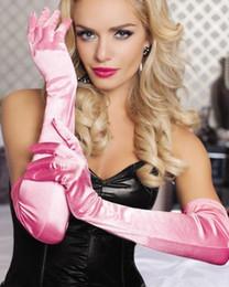 Cheap long white gloves online shopping - In Stock Colorful above elbow length Bridal Gloves Cheap Full Finger Opera Length Satin Long Wedding Gloves Wedding Party