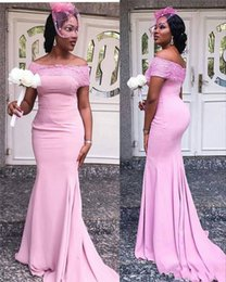 strapless sleeve lace wedding dresses Australia - 2019 Pink Strapless Mermaid Long Bridesmaid Dresses With Applique Lace Luxury Stain African Women Maid Of Honor Dress Party Wedding Guest