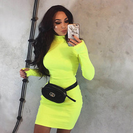 $enCountryForm.capitalKeyWord NZ - Womens Dresses 2019 Spring & Autumn New Simple Half Turtleneck Dress Tight Skinny Solid Color Skirt Fashion Orange Fluorescent Yellow Dress
