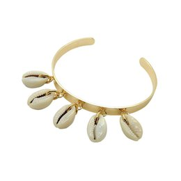 $enCountryForm.capitalKeyWord Australia - Colorful natural shell bangles for women gold stainless steel Shell bracelet femme 2019 retro jewelry Wide bangles