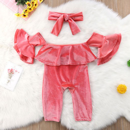 784c5325f1c Christmas Newborn Baby Girl Velvet Rompers Princess Flare Sleeve Jumpsuits  Fashion Kids Clothing Off-shoulder Cute Romper