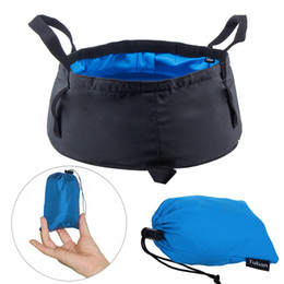 outdoor bath bag UK - Portable Folding Washbasin Outdoor Collapsible Buckets Wash Basin Water Bag Pot for Camping Hiking Bath Bags