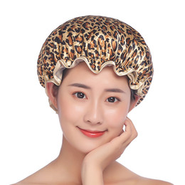 Bath Shower Cap Eco Friendly PEVA Printing Polyester Waterproof Bath Hat Double-deck Shower Cap Many Colors Available on Sale