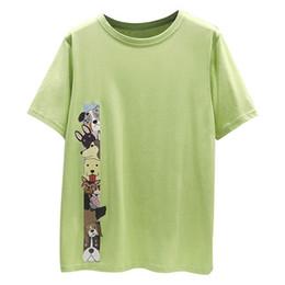 Girls Black White Shirts Australia - Cartoon Printed Summer Cotton T-shirt ladies Short Sleeve T-shirt Women loose Casual T-shirt For Girls White Black Green M L XL XXL