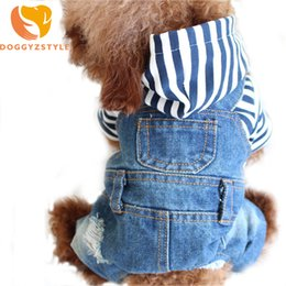 $enCountryForm.capitalKeyWord Australia - Denim Stripe Pet Dog Jumpsuits Puppy Cat Hoodie Jean Coat Four Feet Clothes For Small Dogs Teddy Yorkies Sweatshirt Doggyzstyle