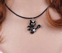 $enCountryForm.capitalKeyWord Australia - Animal Enamel Black Cat Charms Vintage Silver Choker Collar Statement Necklace Pendant DIY Jewelry Women Clothing Accessories HOT