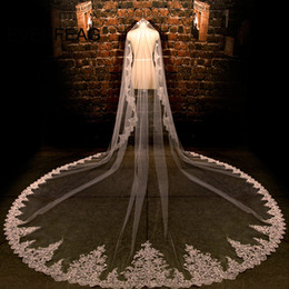 veil jewelry NZ - 3.5 Meters Long Wedding Veil White ivory Lace Edge Wedding Accessories Voile Mariage 2017 Cathedral Bridal Veils Velo De Novia C19041101