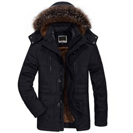 Mens 6xl Winter Parkas Australia - Winter Jacket Men Fur Collar Thicken Casual Cotton Jackets Windbreaker Plus Velvet Parkas Size 6xl Mens Winter Long Overcoat