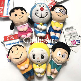 "doraemon big toy Australia - Top New 6 Styles 4.5"" 12CM Sitting Doraemon Nobita Shizuka-chan Sneech Doramichan Tomy Big G Plush Doll Chokkorisan F S Soft Pendants Toys"