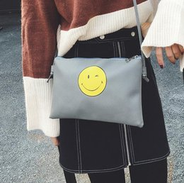 Face Handbags Australia - 2019 Winter Fashion New Handbags High Quality Pu Leather Women Bag Printing Smiling Face Envelope Package Hand Bag Shoulder Bag