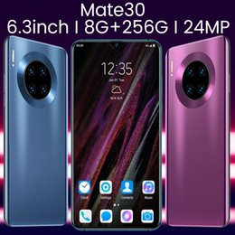 Venta al por mayor de Smartphones de Android MATE30 Smartphone de 6.3 pulgadas Mobielphone 4G Tarjetas Dual SIM de soporte Tarjeta T (8GB RAM + 256GB ROM + Regalo Gratis 128GB TFCard