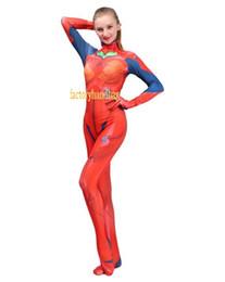 Venta al por mayor de Cosplay Disfraz Lycra Spandex Zentai Tight Adulto 3D Ayanami Rei Evangelion EVA Anime Costume Asuka