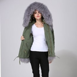 fur hoodies for women UK - Grey Mongolia Sheep Fur For Ladies Wear, Short Real Lamb Fur For Women Army Green Parka Hoodies Wear,Fully Luxury Beach Wool