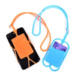 Cell Phone Pouch Neck Australia - 100pcs lot Credit ID Card Bag Holder Silicone Lanyards Neck Strap Necklace Sling Card Holder Strap For iPhone Universal Mobile Cell Phone