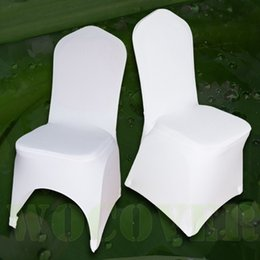 universal polyester chair covers NZ - 100 PCS Stretch Elastic Universal White Spandex Wedding Chair Covers for Weddings Party Banquet Hotel Polyester Fabric