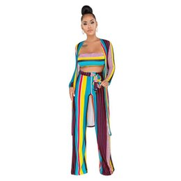 609ea5b70ee Women Stripe Outdoors Tracksuit Long Cardigan Crop Top Pants 3 Piece One Set  Outfit Sexy Casual Home Wear