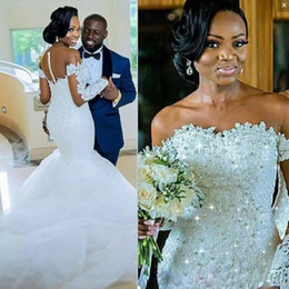Long bLack taffeta skirt online shopping - African Mermaid Wedding Dresses Sheer Neck Crystals Beads Sequins Plus Size Wedding Dress Lace Appliques Buttons Long Sleeves Bridal Gowns