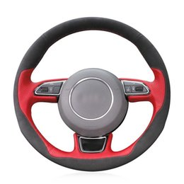 audi a5 wheels NZ - For Audi Audi A1 A3 A5 A7 car steering wheel cover red leather black suede DIY