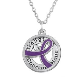 courage pendant NZ - GX055 Cancer Awareness Purper Ribbon Silver Plated Strength Hope Courage love letters hollow round Pendant Necklace For Gift