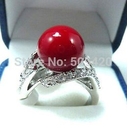 Red Coral Beads China Australia - wonderful coral red bead women's ring size