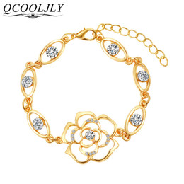 $enCountryForm.capitalKeyWord Australia - Rose Flower Bracelet Austrian Crystal Hollow 3D Floral Bracelet Bridesmaid Bridal Gift Love Flower For Women