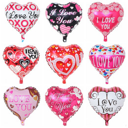 2017 party supplies Party Balloon Inflatable Heart Shaped Balloons I Love You Aluminum Balloon Valentine's Day Supplies 18 Inch 9 Designs Optional YW2122
