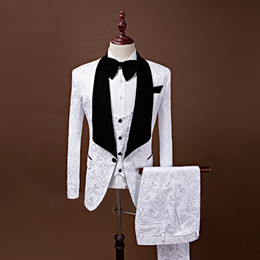 Slim fit Shiny Suit online shopping - Latest White Wedding Groom Tuxedos For Prom Shawl Collar italian man shiny Jacquard Real Image Black Bow ties Groom Suits For Bestman