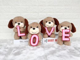 plush dog stuffed wholesale Australia - Creative cute LOVE puppy LOVE dog dolls stuffed animals toys valentine's day gift plush toys wholesale