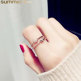 Butterfly White Rose Australia - Romantic Wedding Accessories Open Rings Rose Gold Color Crystal CZ Butterfly Ring For Women Girls Engagement Jewelry Gift