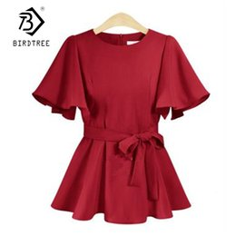 ec200dba45a5e3 Plus Size Xl-5xl Women Butterfly Sleeves Blouses New Fashion Summer Casual  O-neck Lace Up Bow Solid Color Tops Hot T81231l Y19043001