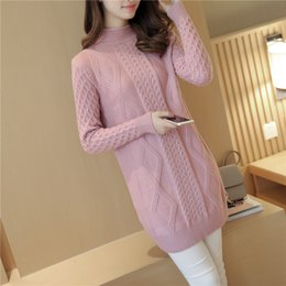 Wholesale 2019 Women s Knit Dress Women s Fashion Loose Pullover Autumn Winter Half high Collar Knit Bottoming Shirt Feminino Dress A710