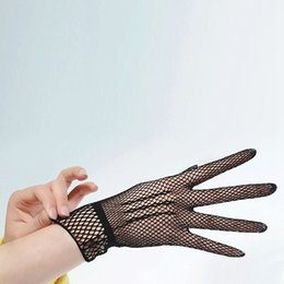 Mesh Fiber NZ - 1 Pair Hot Sale Fishnet Mesh Glove Fashion Women Lady Girl Glove Protection Lace Elegant Lady Style Gloves Black and White