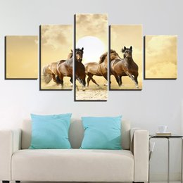 $enCountryForm.capitalKeyWord UK - Modern Home Decor HD Print Framework Pictures Wall Art Poster 5 Panel Run Horse Living Room Canvas Cuadros Modular Painting