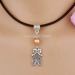 Alloy Shoes NZ - 10pcs Alloy Ancient Silver Embroidered Shoes Multi Glass Bead Charm Pendant Leather Rope Necklace Couple Jewelry Valentine's Day Present