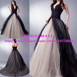 Red black sleeveless gothic pRom dRess online shopping - Black and Beige Appliqued Tulle Long Evening Dresses Halter Neck Gothic Bride Formal Party Gowns Sweep Train Long Prom Dress Pageant