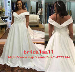 $enCountryForm.capitalKeyWord Australia - Off-Shoulder 2019 Plus Size Wedding Dresses With Pockets Boat Neck Ivory Pleats Satin Boho Beach Bridal Gowns Zipper Back Robe De Mariee