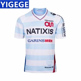 Wholesale french clothing sizes online – design RACING HOME RUGBY JERSEY new French white RAClNG92 embroidery rugby clothing European code standar size S XL can print