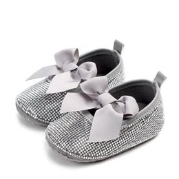 Bling Party Decorations Australia - DHL 50pair Baby Girl Diamond Decoration With Bow Shoes Soft Sole Shoes Prewalker Party Princess Toddler Kids Indoor Casual
