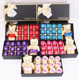 $enCountryForm.capitalKeyWord UK - 12pcs Box Romantic Rose Soap Flower With Little Cute Bear Doll Great Valentine's Day Gifts  Wedding Gift Birthday Gift