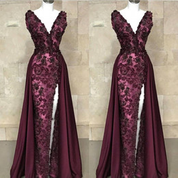 China 2019 Luxury Appliques Beads Maroon Mermaid Prom Evening Dresses Formal Cap Sleeves V Neck Split Detachable Overskirt Pageant Red Carpet cheap silver maroon dress suppliers