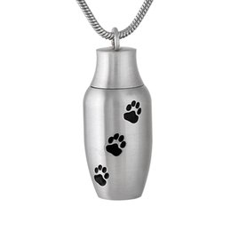 cat cremation jewelry UK - IJD9787 Pet Memorial Jewelry Cheap Dog Cat paw Print Mini Urn Pendant Cremation Necklace For Ashes