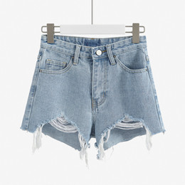 China Ripped High Waist Denim Shorts Woman White Black Jeans Spandex Shorts Korean Mujer Street Style Summer Clothes For Women 55 supplier black jeans korean style suppliers