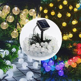 BuBBle lamp christmas lights online shopping - 30 LED Solar Crystal Bubble Ball String Light Solar Powered Lamp Garland Fairy Lights for Christams Day Tree Ornament Decoration T191116
